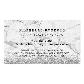 Small Mobile Notary Loan Signing Agent Modern Marble Business Card Back View