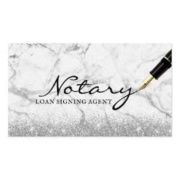 Small Mobile Notary Loan Signing Agent Modern Marble Business Card Front View