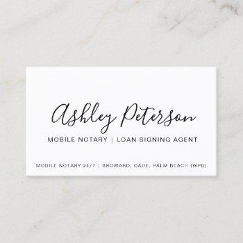 mobile notary public elegant typography minimalist business card
