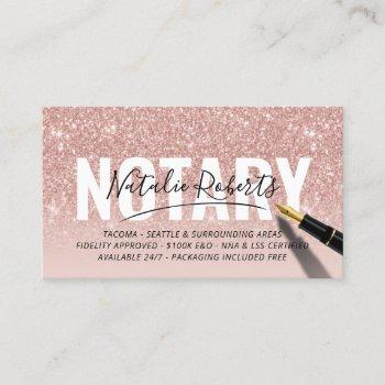 mobile notary public rose gold glitter signature business card