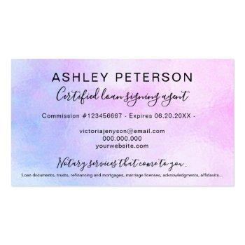 Small Mobile Notary Public Script Pink Pearl Holographic Business Card Back View