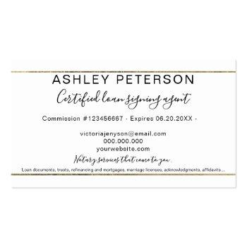Small Mobile Notary Public Typography Gold Stripe Business Card Back View