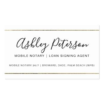 Small Mobile Notary Public Typography Gold Stripe Business Card Front View