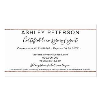 Small Mobile Notary Public Typography Rose Gold Stripe Business Card Back View
