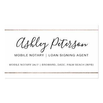 Small Mobile Notary Public Typography Rose Gold Stripe Business Card Front View