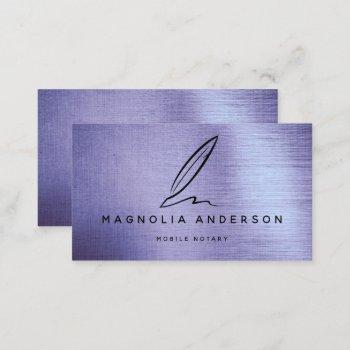 mobile notary quill lilac brushed metal business card