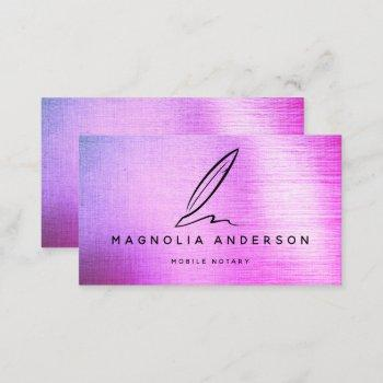 mobile notary quill ombre brushed metal  business card