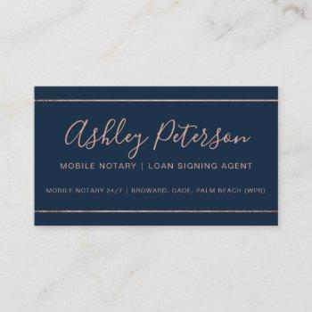mobile notary typography rose gold stripe blue business card
