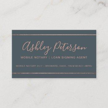 mobile notary typography rose gold stripe gray business card