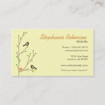 mod nesting birds business card