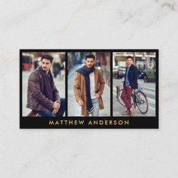 model actor 3 photo business card gold black