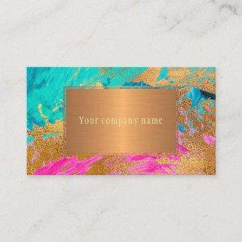 modern abstract art painting copper gold your name business card