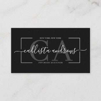 modern abstract black earth tone signature script business card