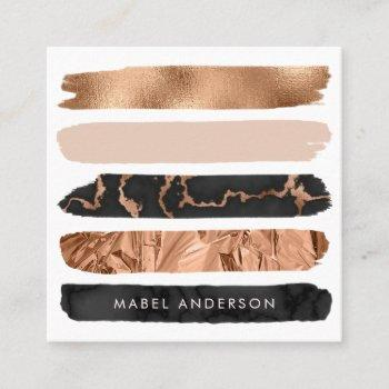 modern abstract black marble blush copper brush square business card
