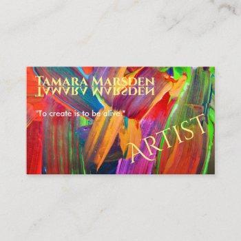 modern abstract brush strokes creative artist business card