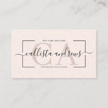 modern abstract cream earth tone signature script business card