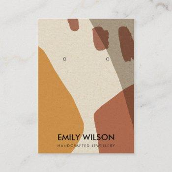 modern abstract terracotta art earring display business card