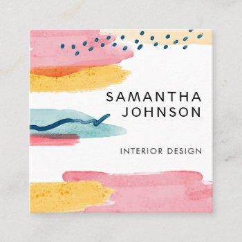 modern abstract watercolor yellow pink blue design square business card