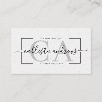 modern abstract white earth tone signature script business card