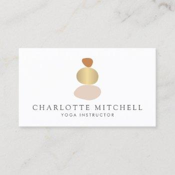 modern abstract zen stones gold logo yoga, massage business card