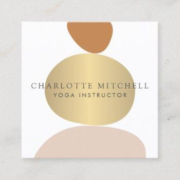 modern abstract zen stones gold logo yoga, massage square business card