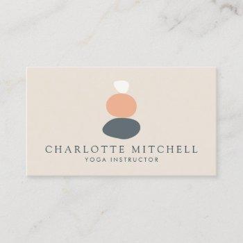 modern abstract zen stones peach/blue logo yoga business card