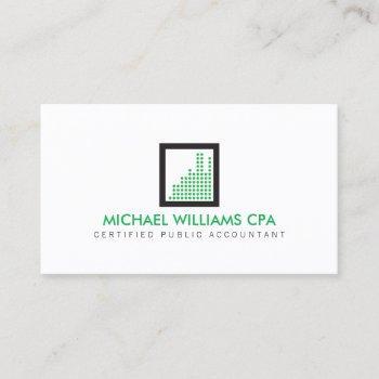 modern accountant, financial logo in green business card