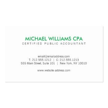 Small Modern Accountant, Financial Logo In Green Business Card Back View