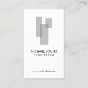 modern architectural blocks logo gray/white business card