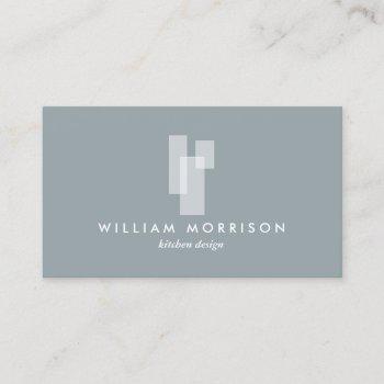 modern architectural blocks logo ii white/slate business card