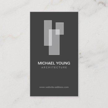 modern architectural blocks logo white/gray business card