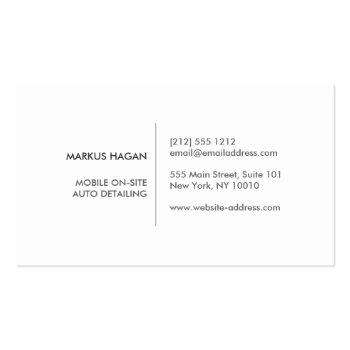 Small Modern Auto Detailing, Auto Repair Business Card Back View