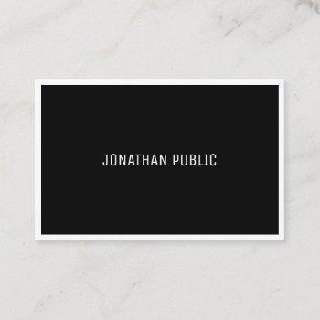 modern b&w elegant black white plain simple business card