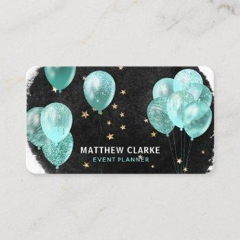 modern balloons & gold stars party event planner business card