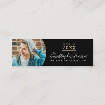 modern black and gold graduation photo class of calling card