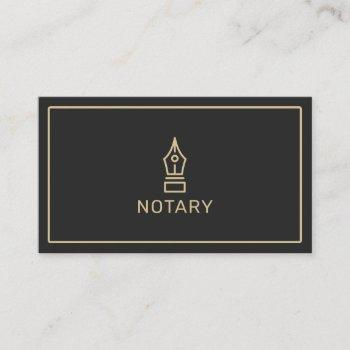 modern black and gold notary loan signing agent business card