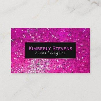 modern black and pink glitter & sparkles business card