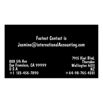 Small Modern Black And White Business Card Back View