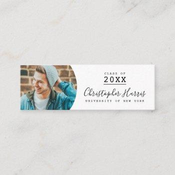 modern black and white graduation photo class of calling card