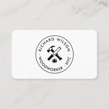 modern black and white professional carpenter logo business card