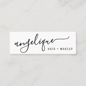 modern black and white script makeup hair trendy mini business card