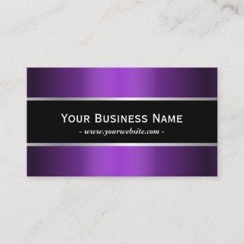 modern black belt metallic purple elegant business card
