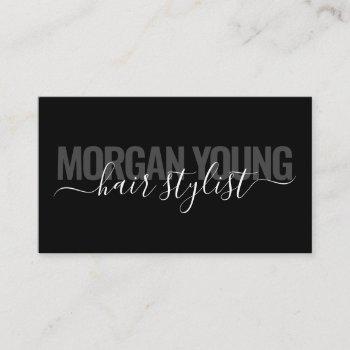 modern black chic hair stylist script signature business card
