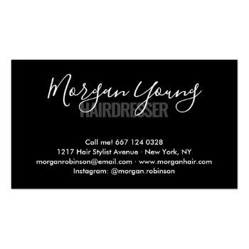 Small Modern Black Chic Hair Stylist Script Signature Business Card Back View