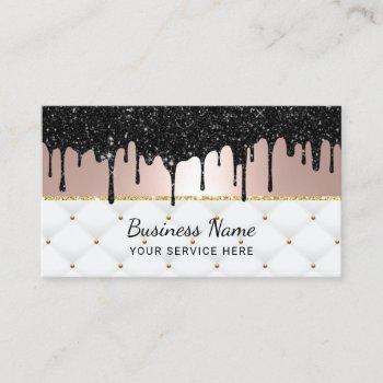 modern black drips rose gold luxury beauty salon business card