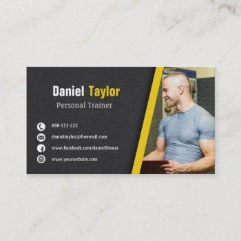 modern black fitness personal trainer with photo business card