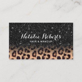 modern black glitter leopard beauty salon business card