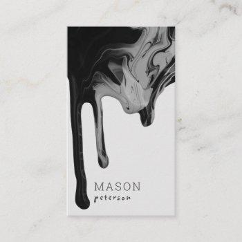 modern black gray marble dripping seamless paint business card
