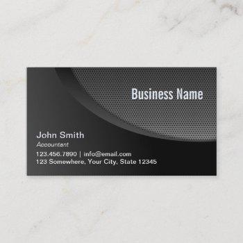 modern black metal mesh accountant business card