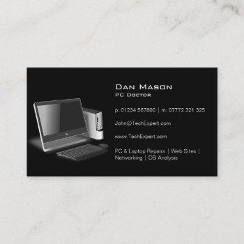 modern black pc technology - business card